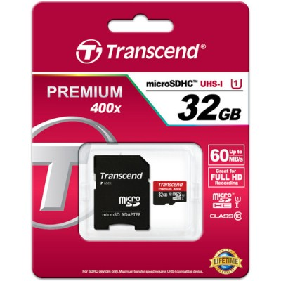 Transcend microSDHC 32GB Class 10 UHS-I 400x (Premium)